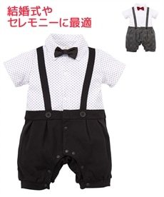 0c400f8135b79d 吊りズボン風 フォーマル半袖カバーオール(男の子 子供服・ベビー服)