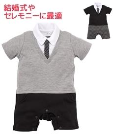 124f6e67264c91 Vネック重ね着風 フォーマル半袖カバーオール(男の子 子供服・ベビー服)