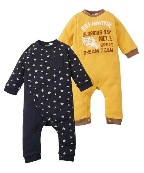 あったか裏起毛 プリントカバーオール2枚組(男の子。女の子 子供服。ベビー服) 【ベビー服】Babywear