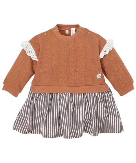 あったかニットジャガード スカート切替えカバーオール(女の子 子供服・ベビー服) 【ベビー服】Babywear