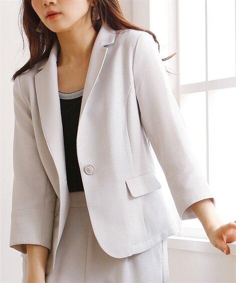 接触冷感。麻調合繊7分袖テーラードジャケット(セットアップ対...