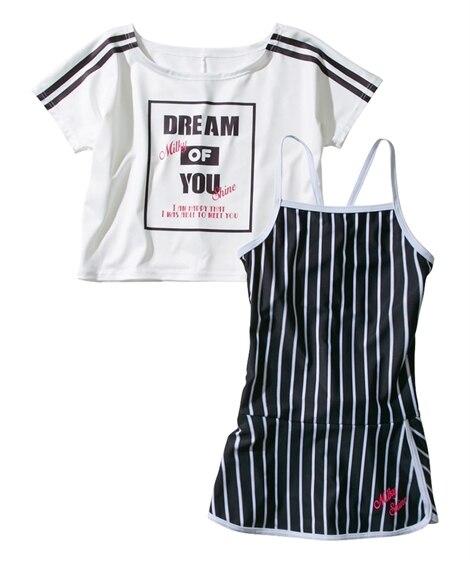 カバーアップ付ワンピース水着(女の子 水着) ファッション水着(遊泳用水着) Kid's Swimsuit
