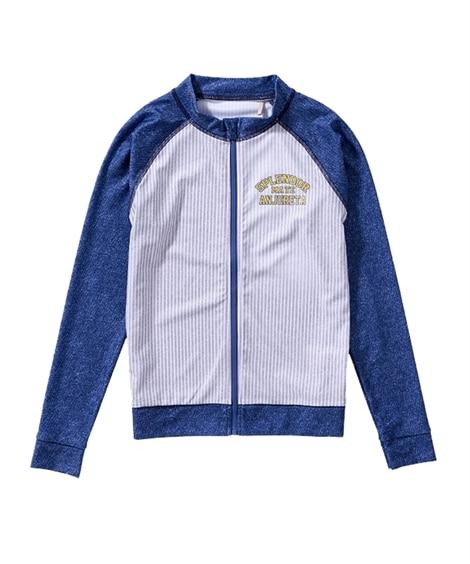 ヒッコリー風ラッシュガード(子供服 女の子 ジュニア服) ファッション水着(遊泳用水着) Kid's Swimsuit