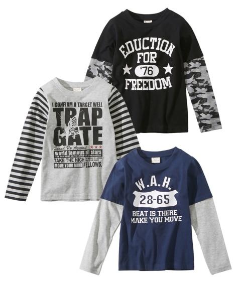 重ね着風長袖Tシャツ3枚組(男の子 子供服) (Tシャツ・カ...