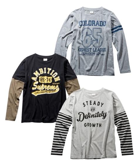 重ね着風長袖Tシャツ3枚組(男の子 子供服。ジュニア服) T...