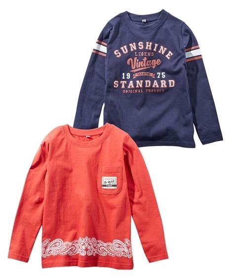 綿100%アメカジプリントT長袖シャツ2枚組(子供服 男の子) (Tシャツ・カットソー)Kids' T-shirts