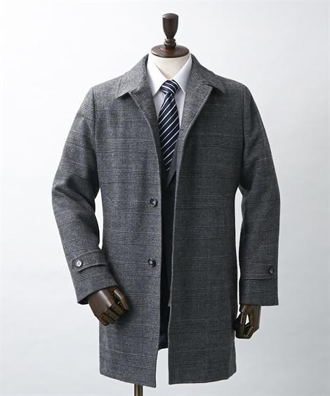 ウール混ステンカラーコート コート, Coat...