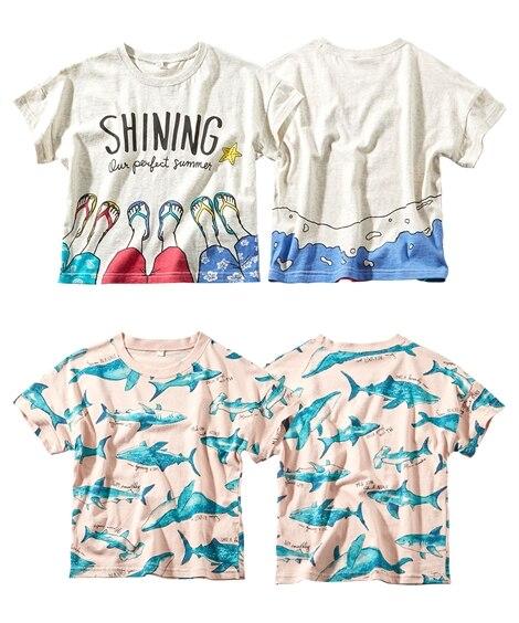 綿100% プリント半袖Tシャツ2枚組(男の子。女の子 子供...