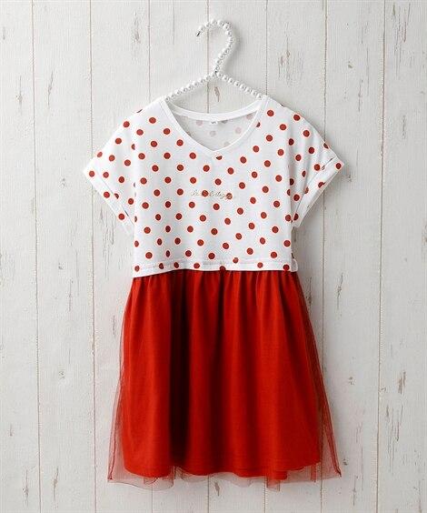 ドット×チュール切替ドッキングワンピース(女の子 子供服。ジュニア服) ワンピース, Kids' Dress