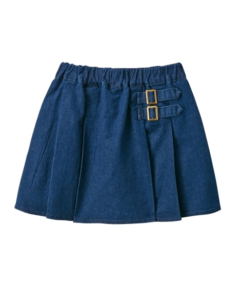 デニムプリーツパンツインスカート(女の子 子供服。ジュニア服...
