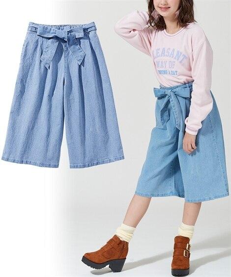 リボンベルト付デニムスカーチョ(女の子 子供服。ジュニア服)...
