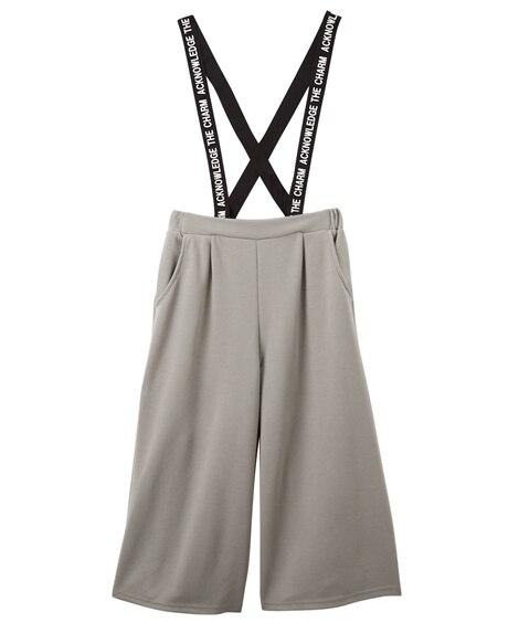6分丈ロゴプリントサスペンダー付きカットソーガウチョパンツ(女の子 子供服。ジュニア服) パンツ, Kids' Pants