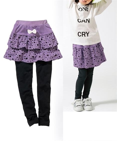 f4c128300b6c9 フリルスカッツ(女の子 子供服。ジュニア服) (スカート付パンツ) ラブリーなハート柄の2段フリル、キュートな水玉+チュール の3段フリルが可愛いスカッツ