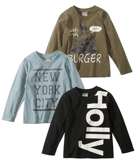 【もっとゆったりサイズ】プリント長袖Tシャツ3枚組(男の子 ...