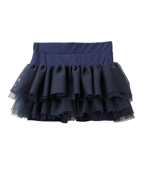 2段チュールパンツインスカート。5分丈スカッツ(女の子 子供...