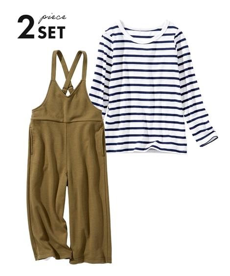 2点セット(サロペット+Tシャツ)(女の子 子供服・ジュニア服) (オールインワン) Kids' Overalls
