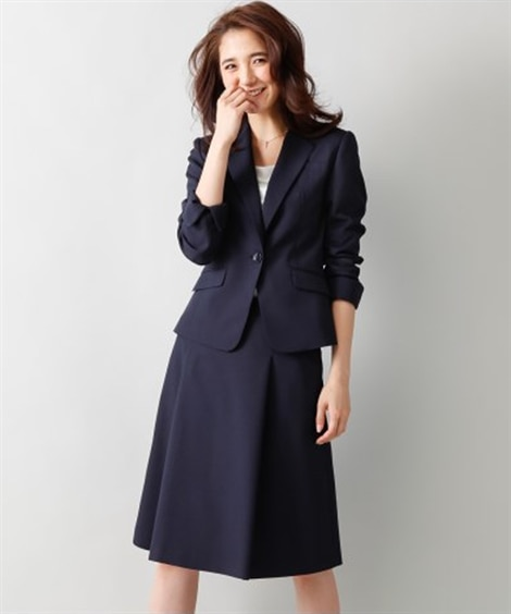 洗えるタックフレアスカートスーツ(スカートポケット付) (大...