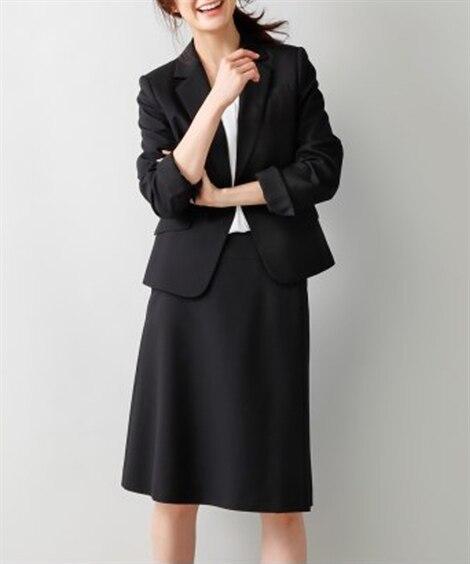洗えるラップ風セミフレアスカートスーツ(スカートポケット付)...