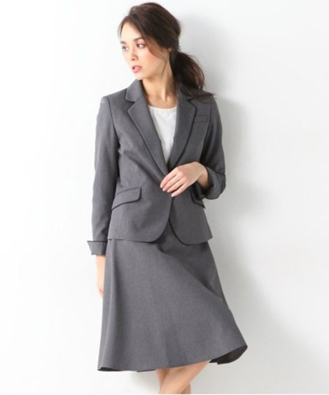洗える令嬢スカートスーツ(パイピングテーラードジャケット+フ...