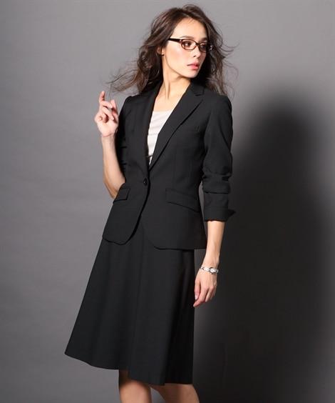 洗えるタテヨコストレッチスカートスーツ(ジャケット+フレアス...