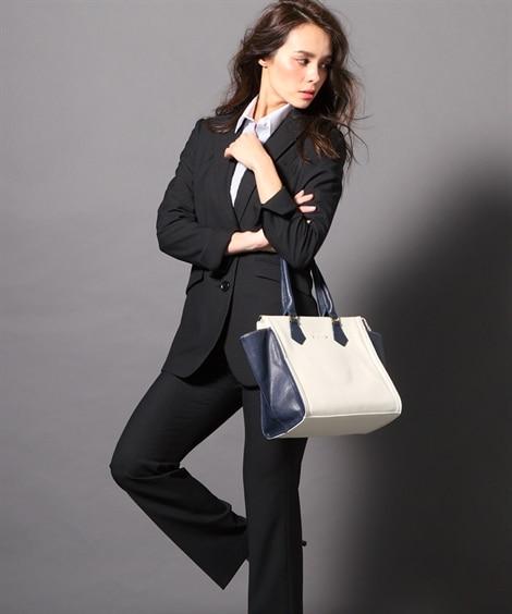 <ニッセン> 洗えるタテヨコストレッチロング丈パンツスーツ(ジャケット+ストレートパンツ) (大きいサイズレディース)スーツwomen's suits plus size