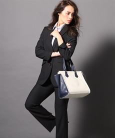 <ニッセン> 洗えるタテヨコストレッチロング丈パンツスーツ(ジャケット+ストレートパンツ) (大きいサイズレディース)スーツwomen's suits plus size 1