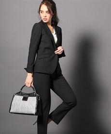<ニッセン> 洗えるタテヨコストレッチロング丈パンツスーツ(ジャケット+ストレートパンツ) (大きいサイズレディース)スーツwomen's suits plus size 3