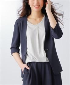 <ニッセン> 洗えるタテヨコストレッチロング丈パンツスーツ(ジャケット+ストレートパンツ) (大きいサイズレディース)スーツwomen's suits plus size 10