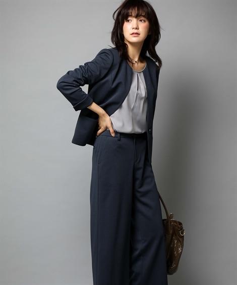 <ニッセン> 洗えるタテヨコストレッチロング丈パンツスーツ(ジャケット+ストレートパンツ) (大きいサイズレディース) 24