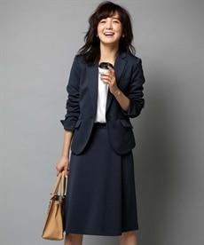 <ニッセン> 洗えるタテヨコストレッチロング丈パンツスーツ(ジャケット+ストレートパンツ) (大きいサイズレディース)スーツwomen's suits plus size 28