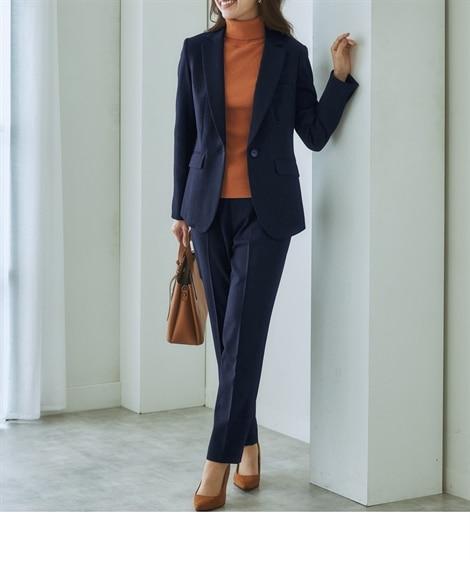 洗えるウール調9分丈テーパードストレッチパンツスーツ 【レデ...