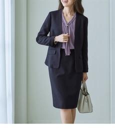 <ニッセン> 洗えるウール調9分丈テーパードストレッチパンツスーツ 通勤・社会人・リクルートスーツwomen's suits 2