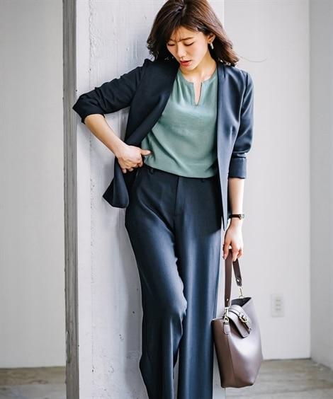 【夏の多機能リネンライク】セミワイドパンツスーツ【レディース...