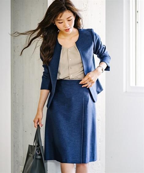 【夏の多機能リネンライク】ラップ風スカートスーツ【レディース...