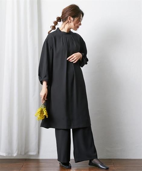 【喪服・礼服】洗える防しわタックデザインワンピース+ワイドパンツセットアップ<大きいサイズ有> ブラックフォーマル, Funeral Outfit