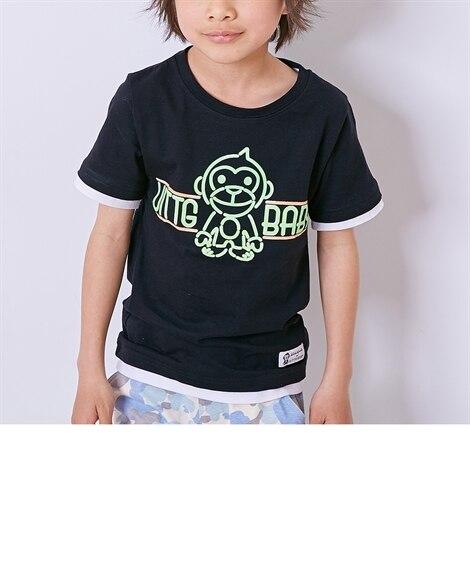おさる 綿混プリント半袖Tシャツ(男の子。女の子 子供服。ジ...