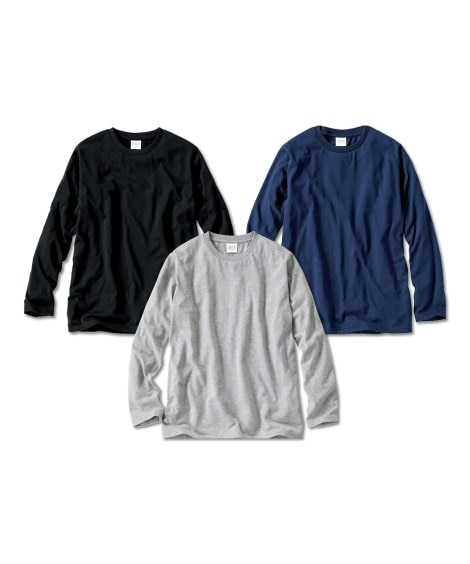 長袖無地Tシャツ3枚組 Tシャツ・カットソー, T-shir...