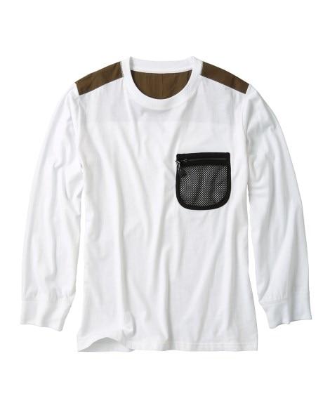 2020年9月新着!<ニッセン> 布帛切替メッシュポケットTシャツ Tシャツ・カットソー T-shirts テレワーク 在宅 リモート