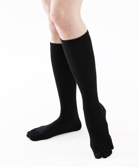 消臭 着圧5本指ハイソックス2足組(フリーサイズ) ハイソックス・オーバーニー, Socks