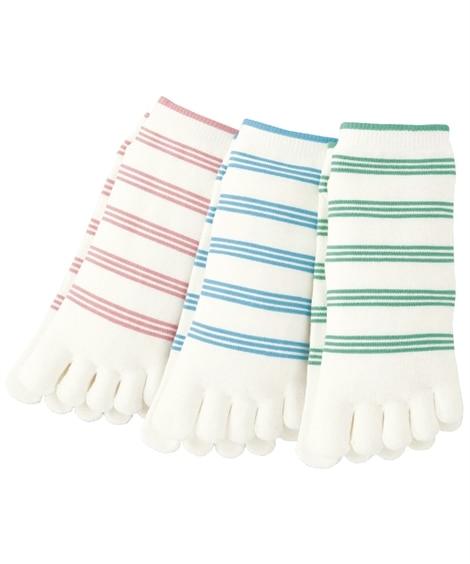 <ニッセン> 涼綿クール 夏デザインの5本指ショートソックス3足組(フリーサイズ) ショート・クルーソックス Socks 1