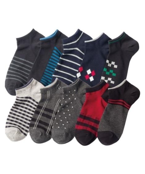 <ニッセン> ベーシックデザインクルーソックス10足組(フリーサイズ) ショート・クルーソックス Socks 15
