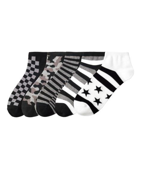 デザインショートソックス5足組 メンズ靴下, Men's S...