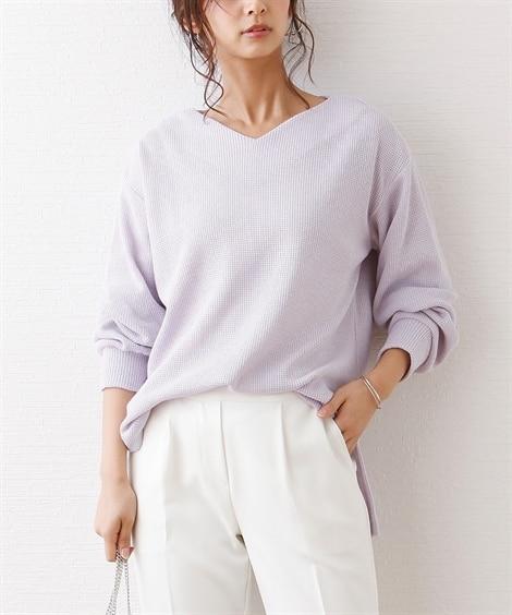 春カラーで着る♪Vネック裾スリットチュニック (Tシャツ・カ...