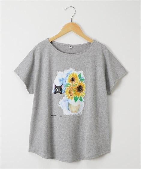 <ニッセン> クロネコ ひまわり ゆるTシャツ (Tシャツ・カットソー)(レディース)T-shirts