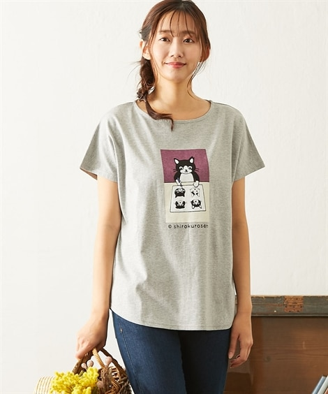 <ニッセン> 白黒ネコ ゆるTシャツ (Tシャツ・カットソー)(レディース)T-shirts