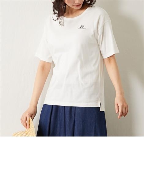 <ニッセン> 白黒ネコ ゆるTシャツ (Tシャツ・カットソー)(レディース)T-shirts 10