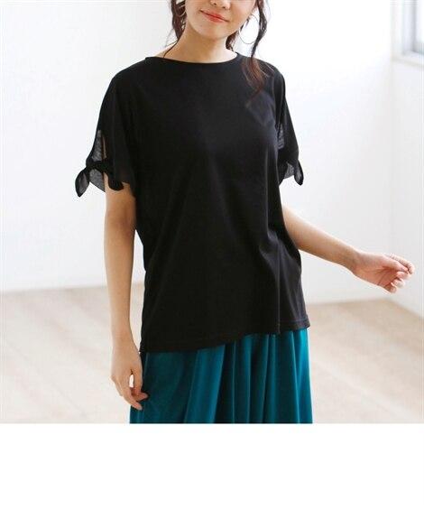 接触冷感袖リボンTシャツ (大きいサイズレディース)Tシャツ...