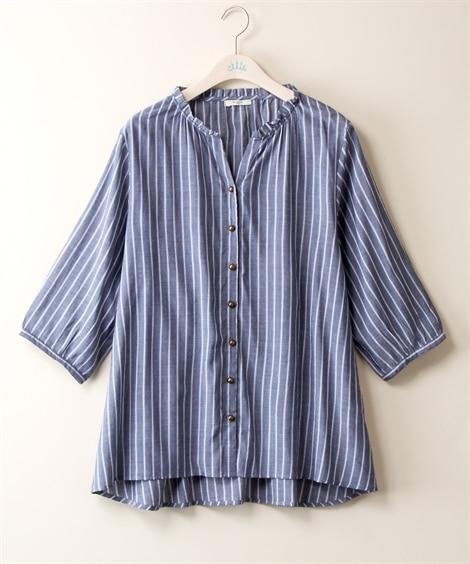 衿フリル7分袖チュニック (大きいサイズレディース)チュニッ...