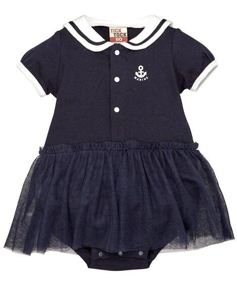 セーラー衿付き半袖カバーオール(男の子。女の子 子供服。ベビ...