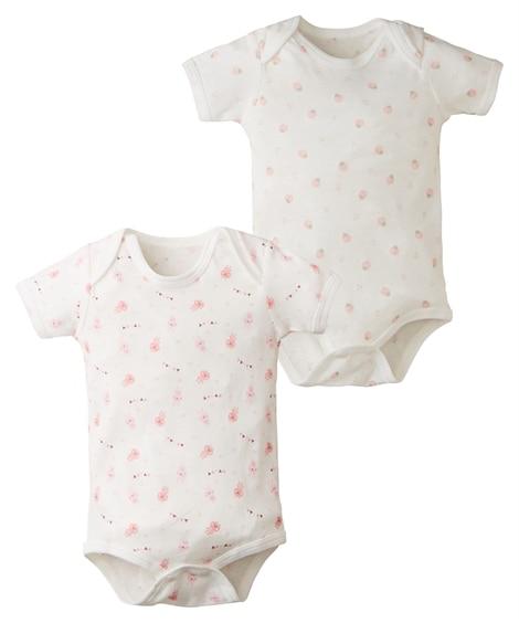 綿100%フライス半袖ボディスーツ2枚組(男の子。女の子 子供服。ベビー服) 【ベビー服】Babywear